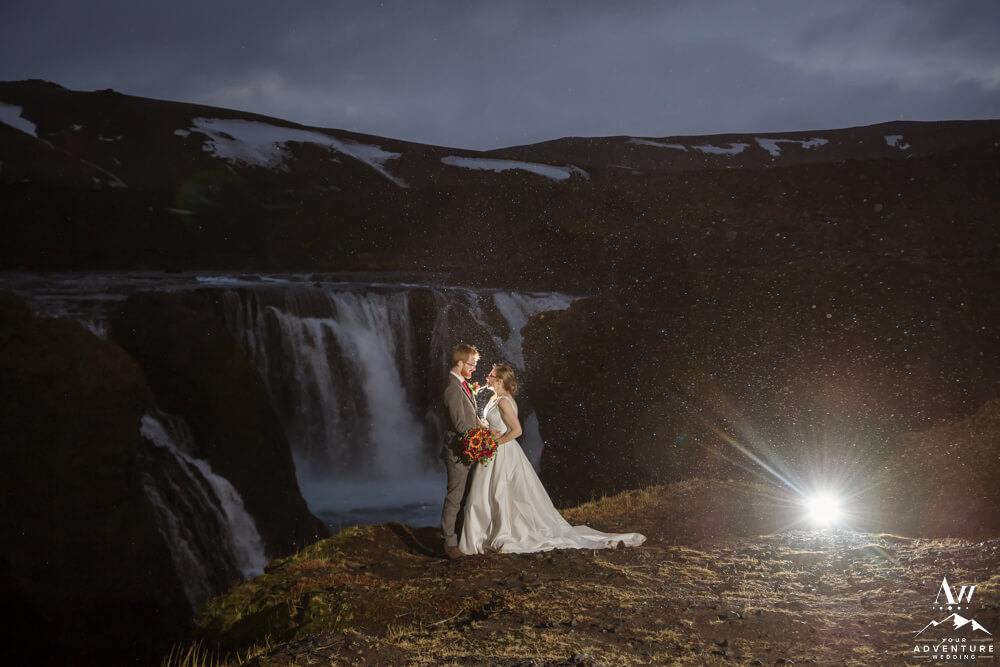 Nighttime wedding photo in Iceland