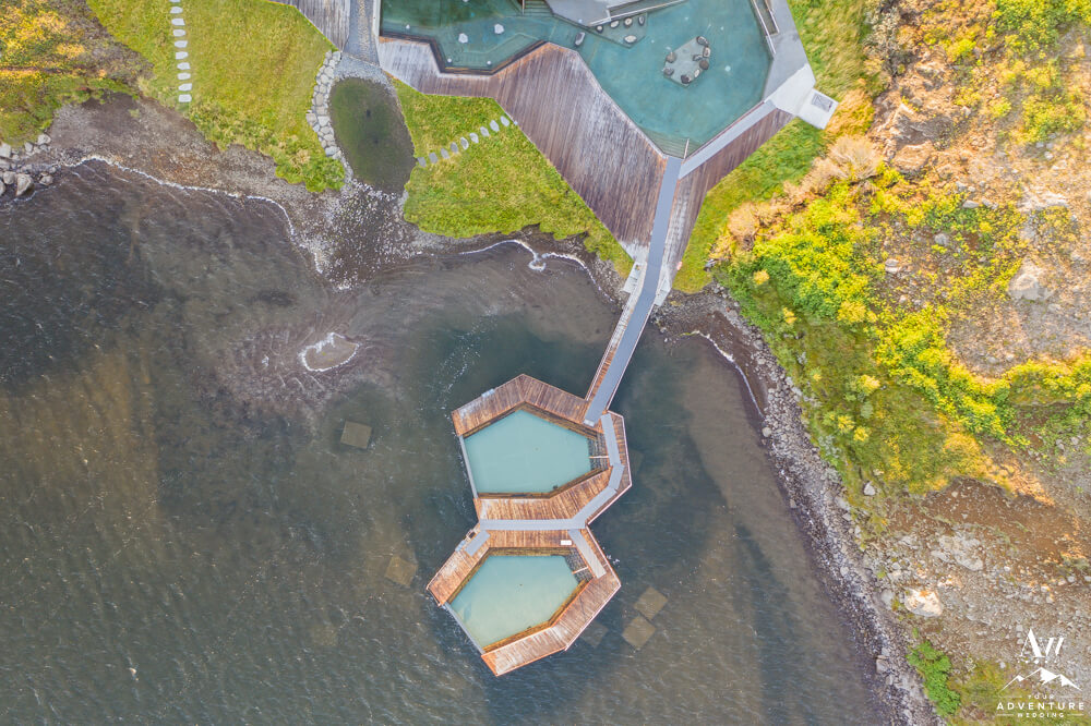 Vök Baths in East Iceland from Drone