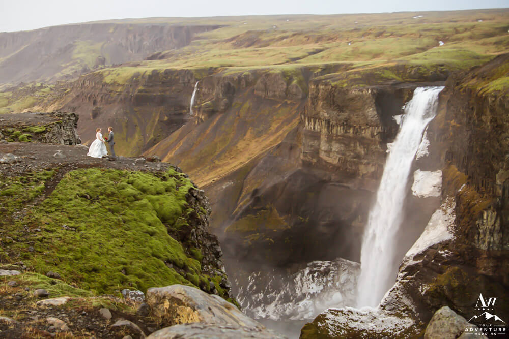 Micro Wedding in Iceland Couple at Haifoss