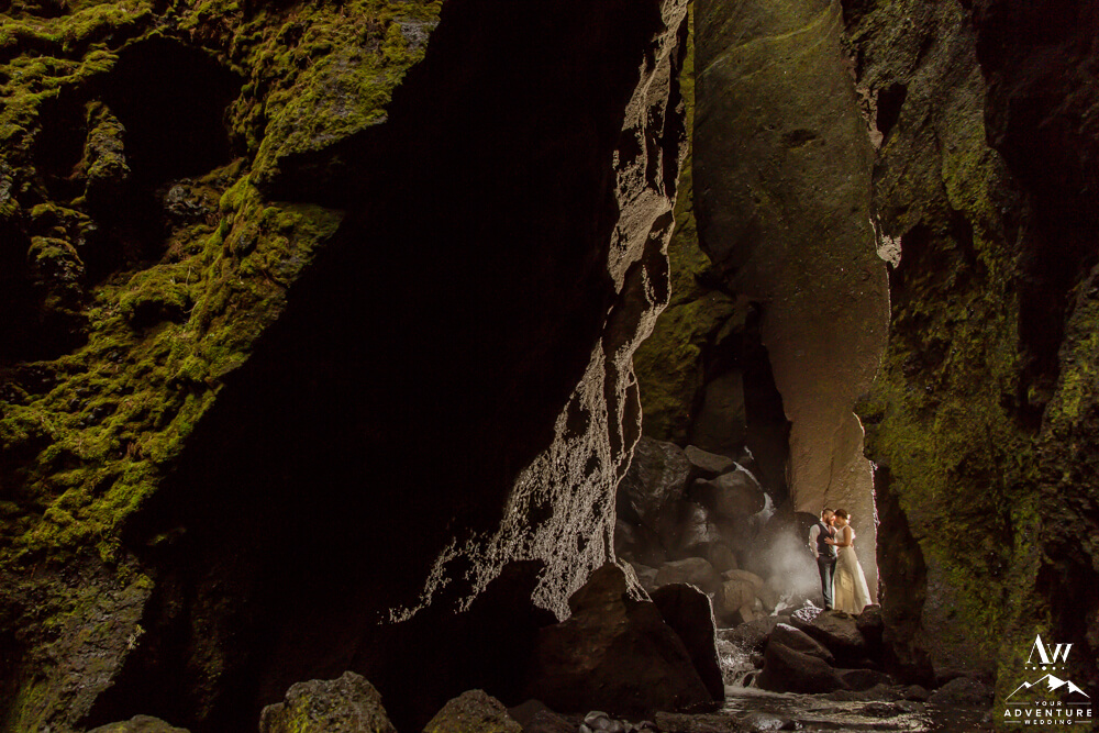 Iceland Elopement Couple at Stakkholtsgjá Waterfall