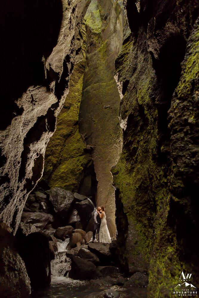 Stakkholtsgjá Slot Canyon in Iceland Couple Kissing