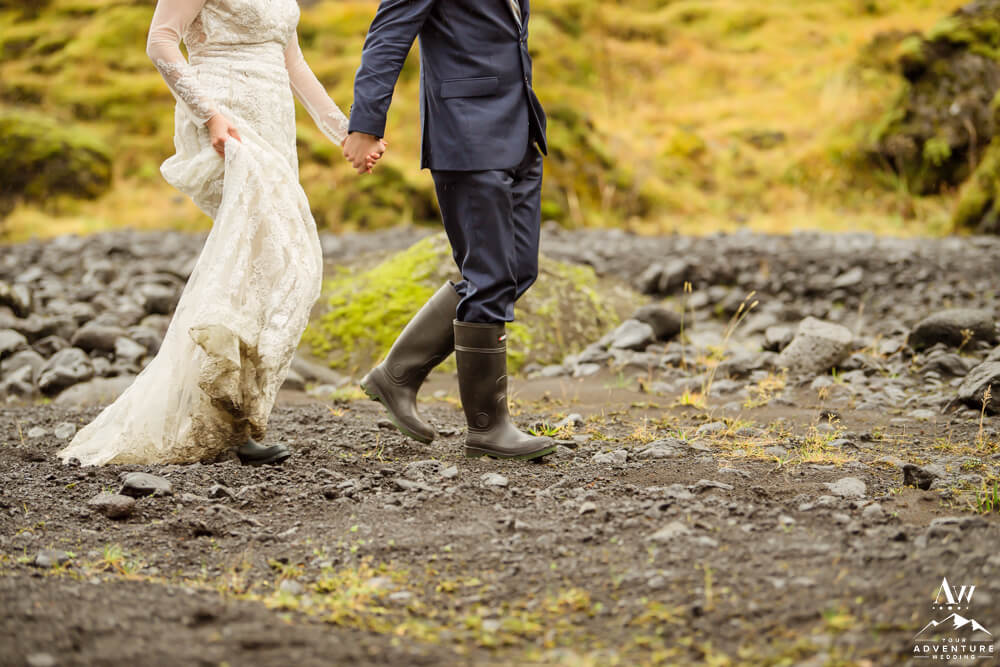 Hiking Elopement Couple holding hands