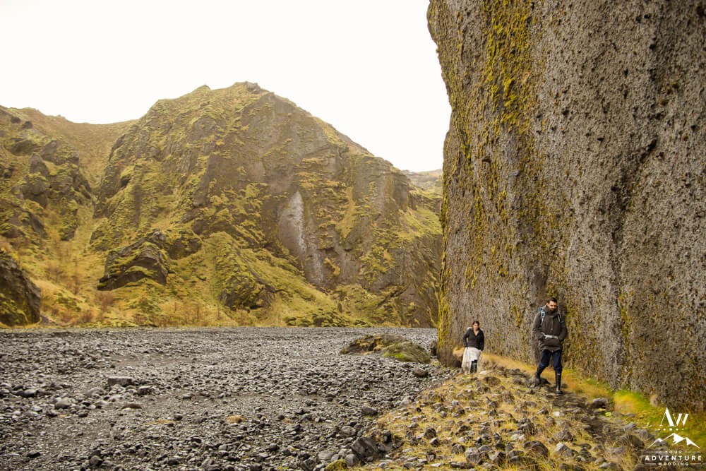 Iceland Elopement Couple hiking out of Stakkholtsgja