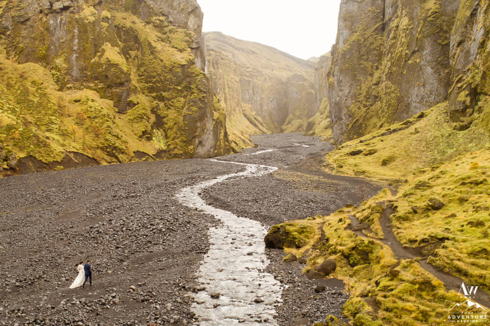 Iceland Hiking Elopement Couple in Stakkholtsgjá Canyon