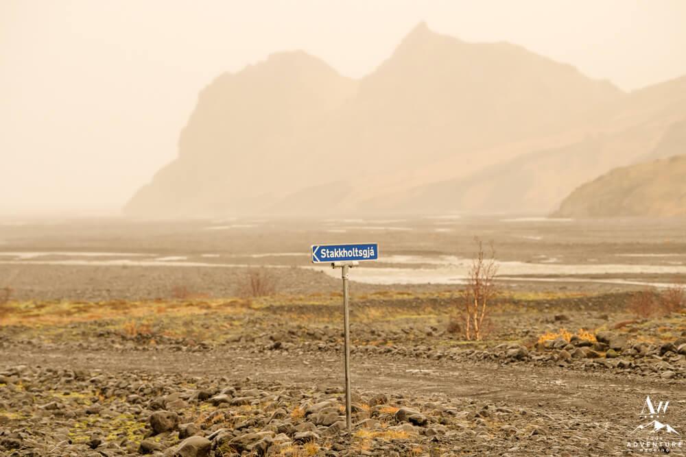 Stakkholtsgjá Sign inside Thorsmork