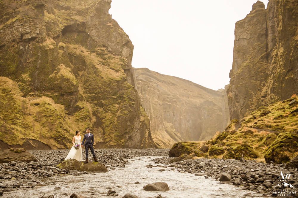 Stakkholtsgjá Hiking Couple in Iceland