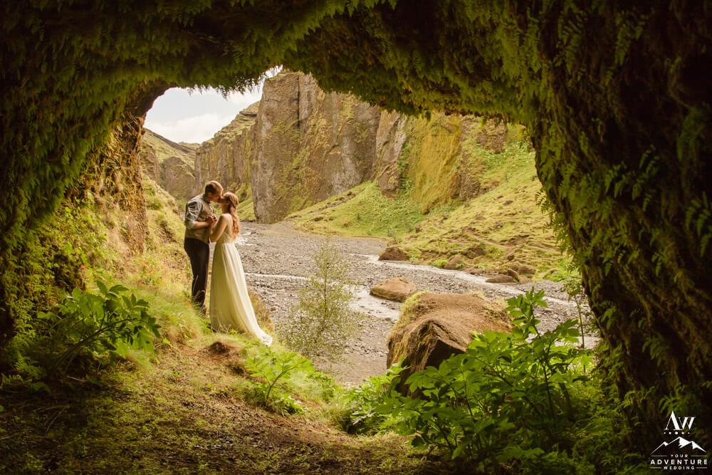 Iceland Elopement Couple inside Stakkholtsgjá Cave
