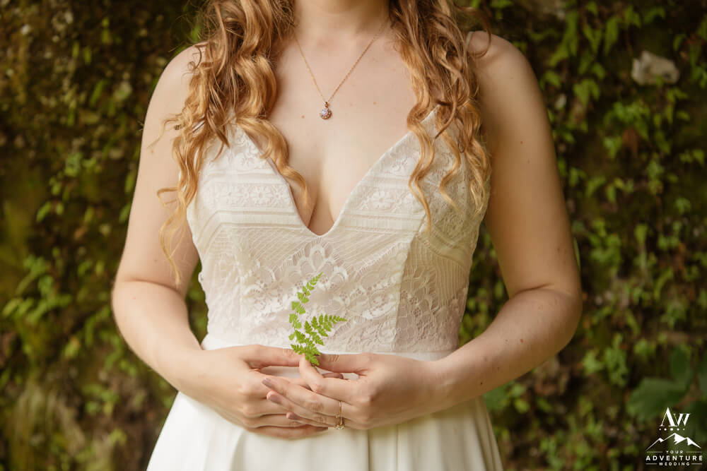 Iceland Bride holding a fern