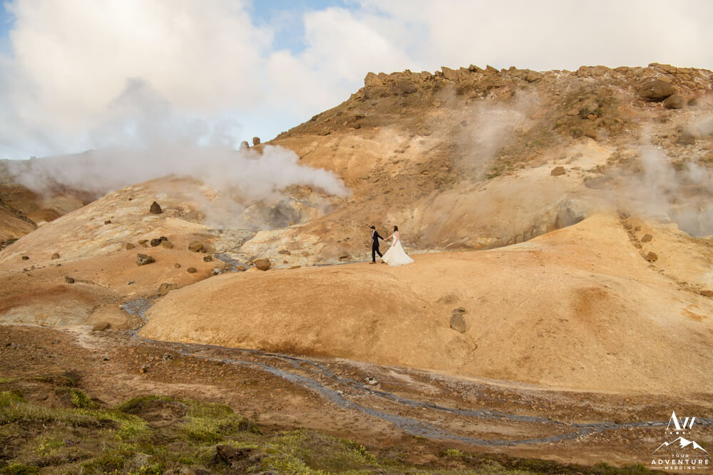 Iceland elopement couple at geothermal area