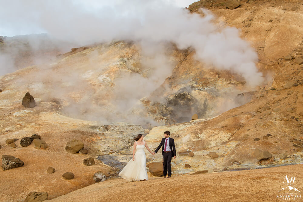 Iceland Elopement Couple exploring geothermal area