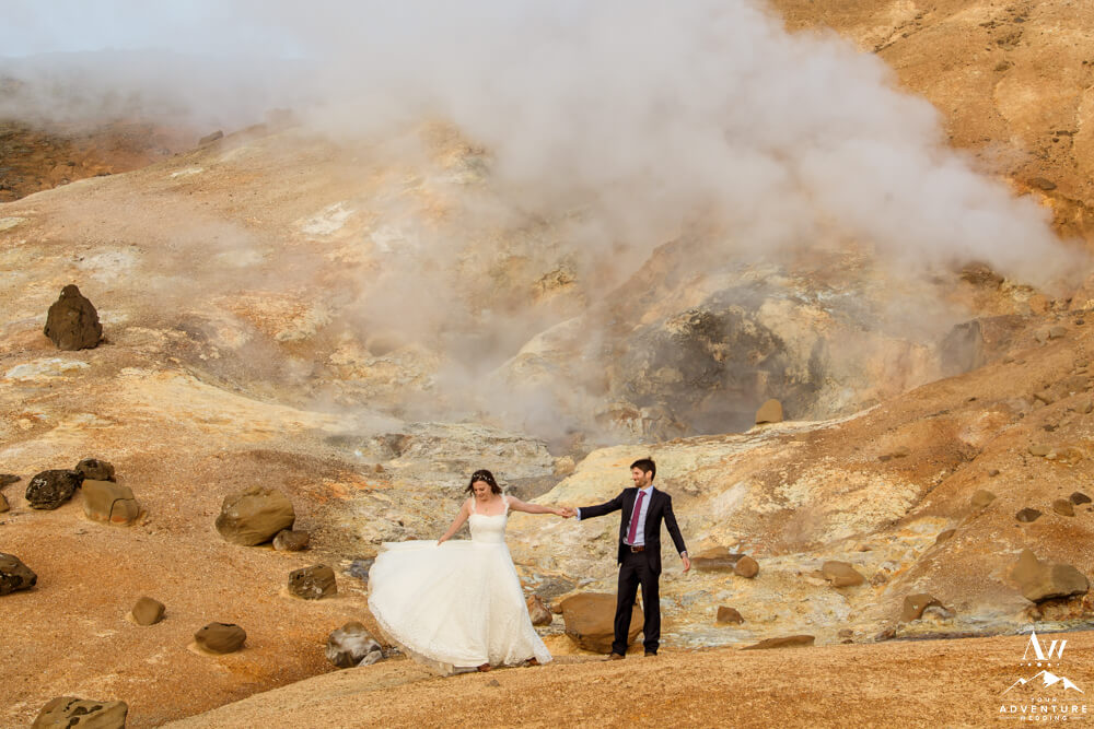 Iceland wedding couple at a geothermal area
