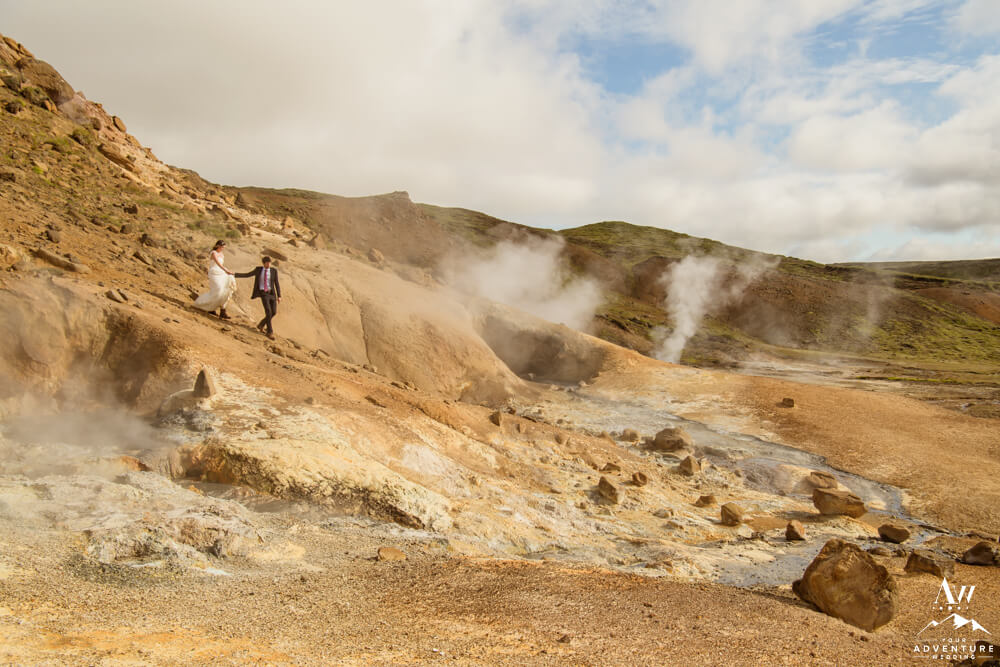 Iceland elopement couple in a geothermal area