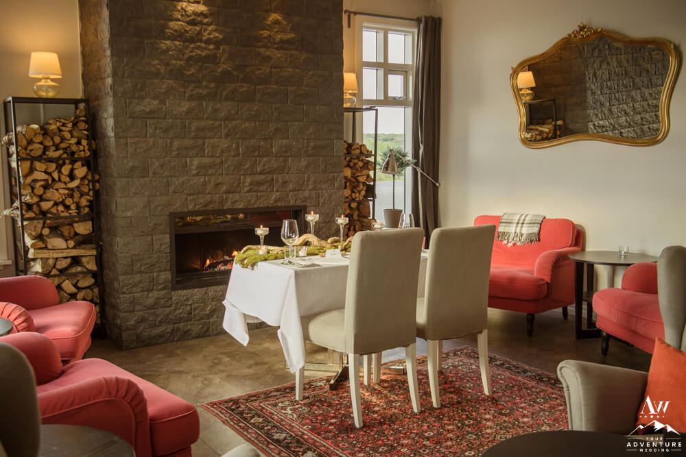 Fireside Elopement Dinner at Hotel Grimsborgir