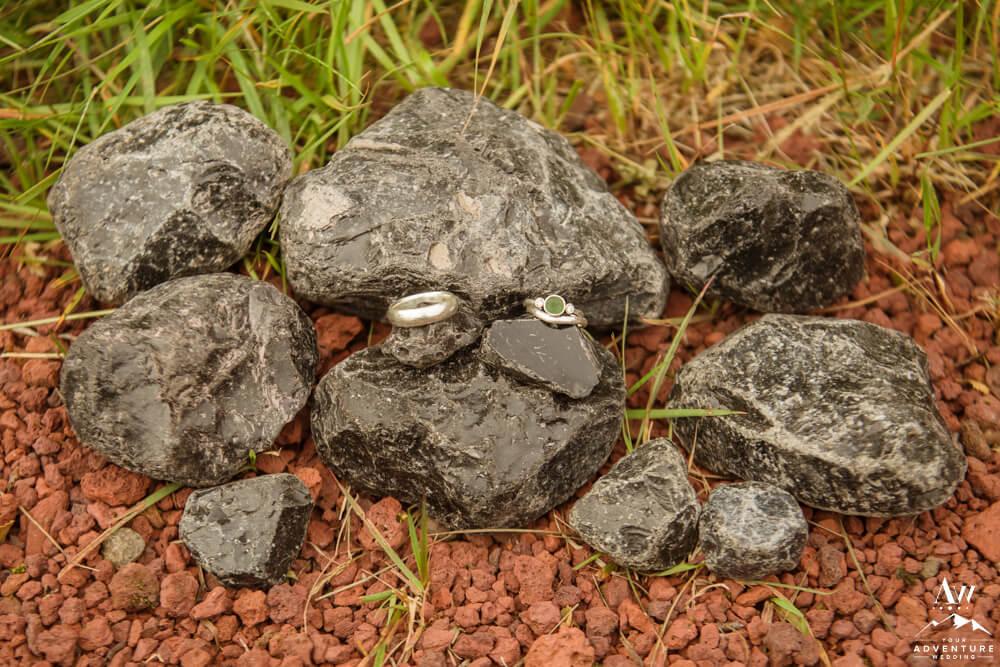 Iceland Wedding Rings on obsidian