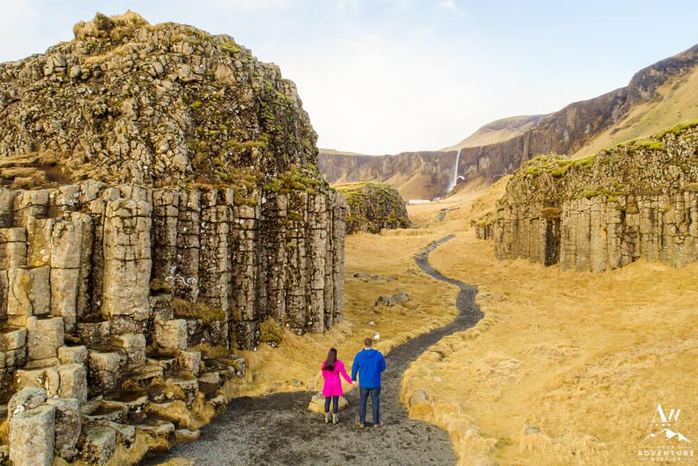 Iceland Elopement Couple at Dverghamrar Cliffs