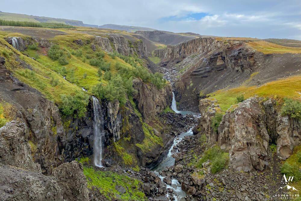 Hengifoss and Litlanesfoss Waterfalls in East Iceland