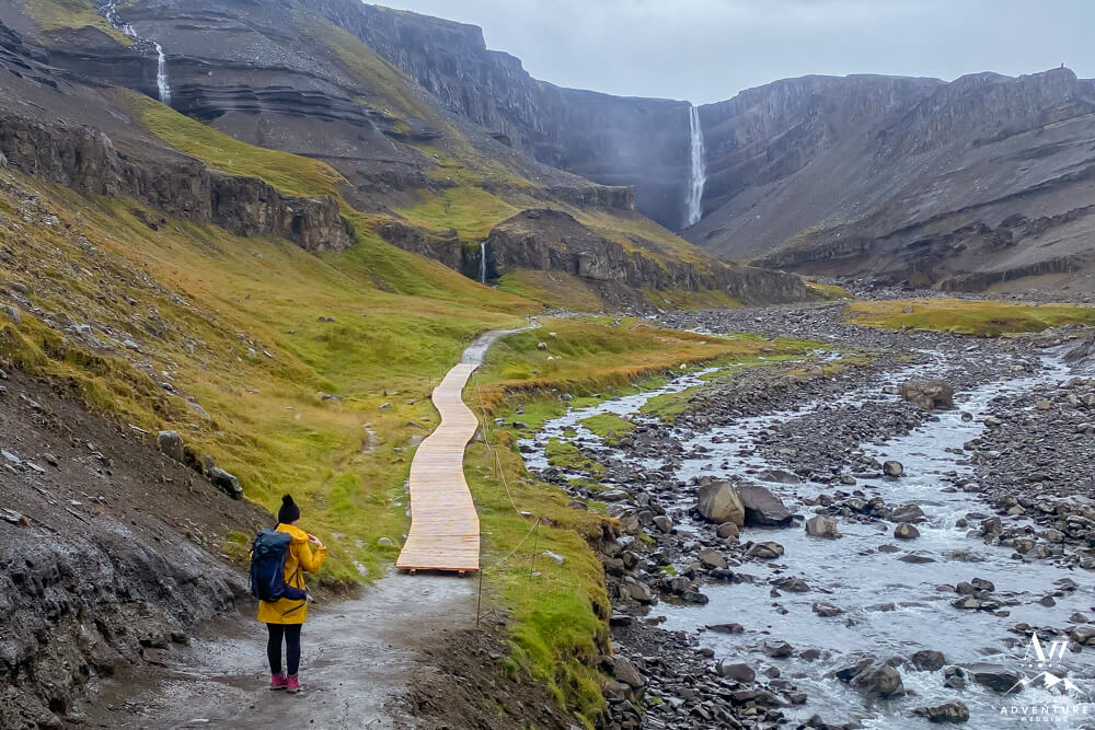 Hiker o the way to Hengifoss in East Iceland