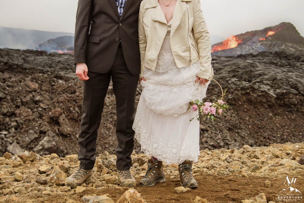 Iceland wedding couple hiking boots