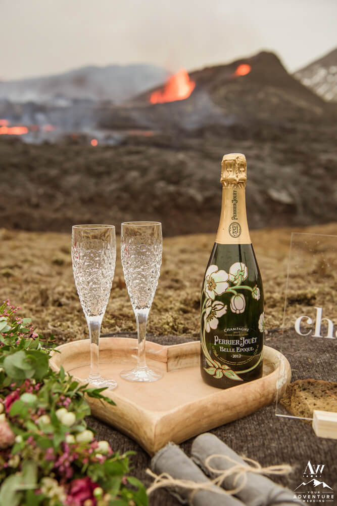 Perrier Jouët Champagne at a Volcano