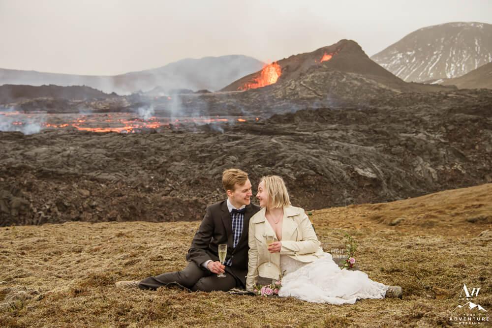 Iceland Volcano Wedding Couple drinking champagne