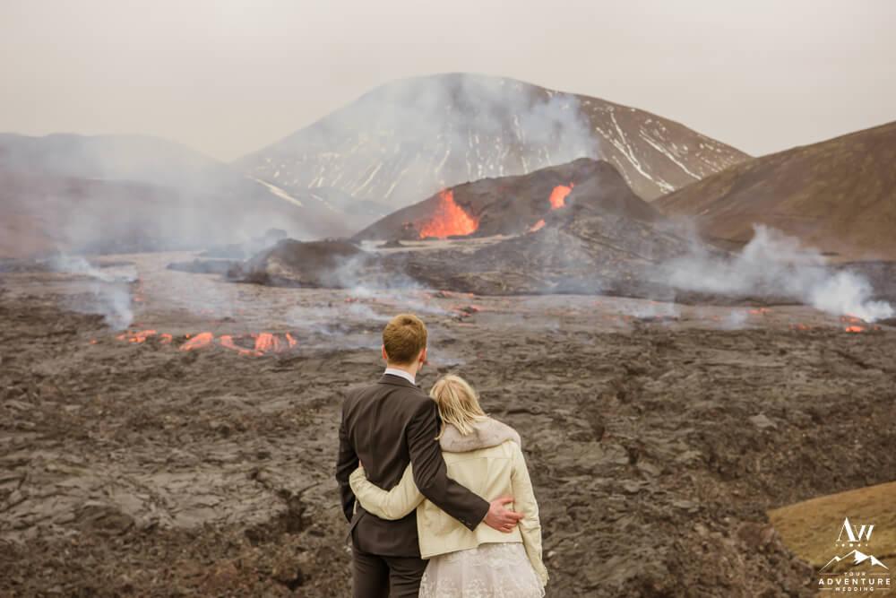 Iceland Volcano Couple at Geldingadalir Volcano