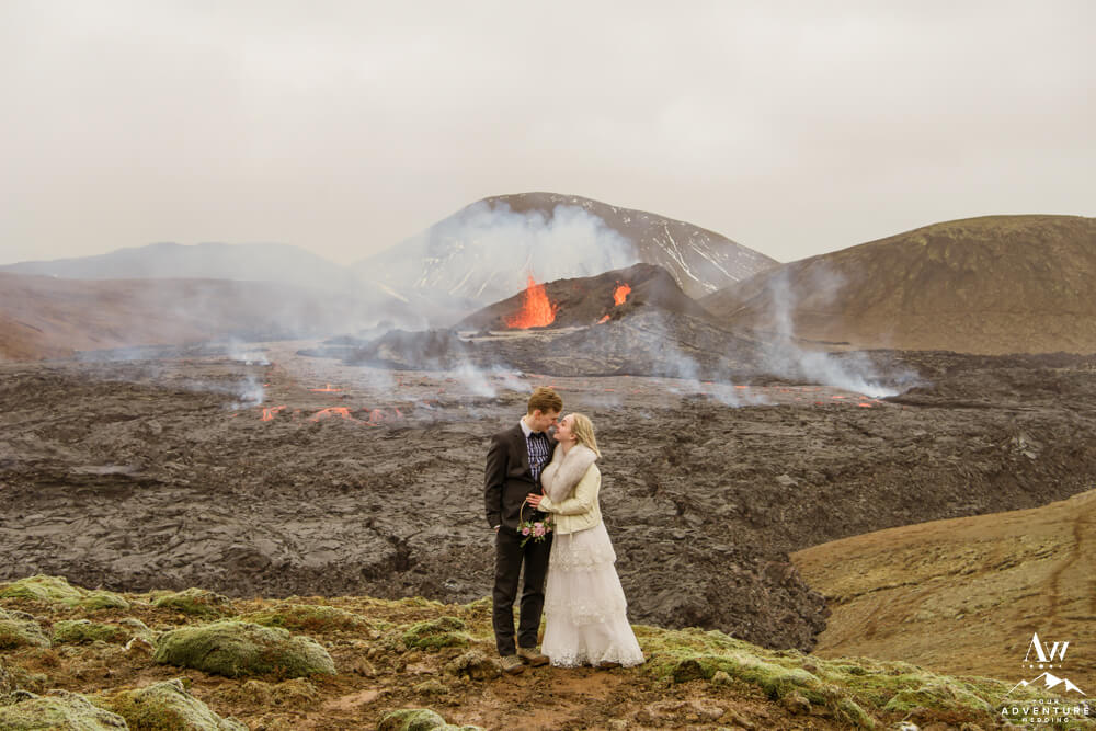 Iceland Wedding Couple at Volcano
