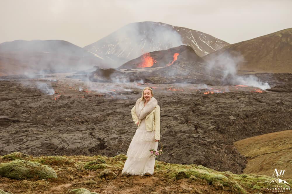 Bride at Geldingadalir Iceland Volcano