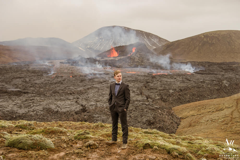 Groom at Geldingadalir Iceland Volcano