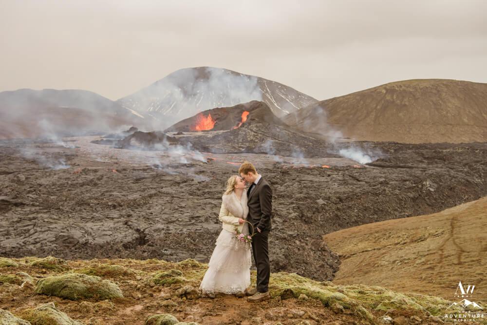 Iceland Volcano Wedding Couple