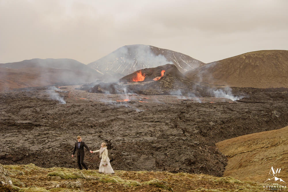 Iceland Elopement Photographer and Couple at Volcano