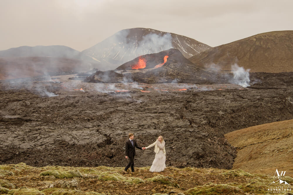 Iceland Elopement Couple at a Volcano