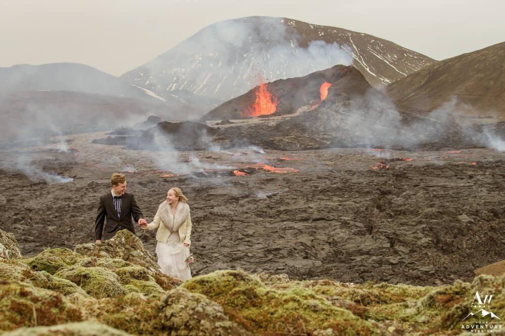 Iceland Wedding Couple at Geldingadalir Geld