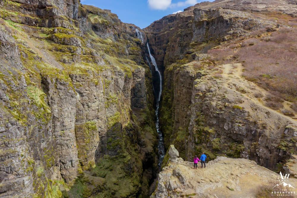 Glymur Waterfall Hike Iceland Wedding Couple