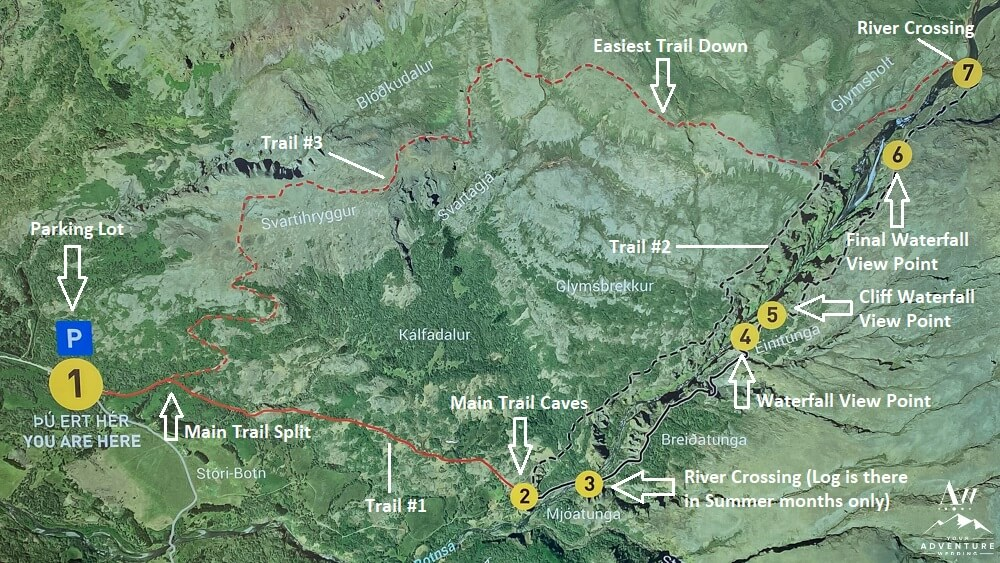 Glymur Waterfall Hiking Map
