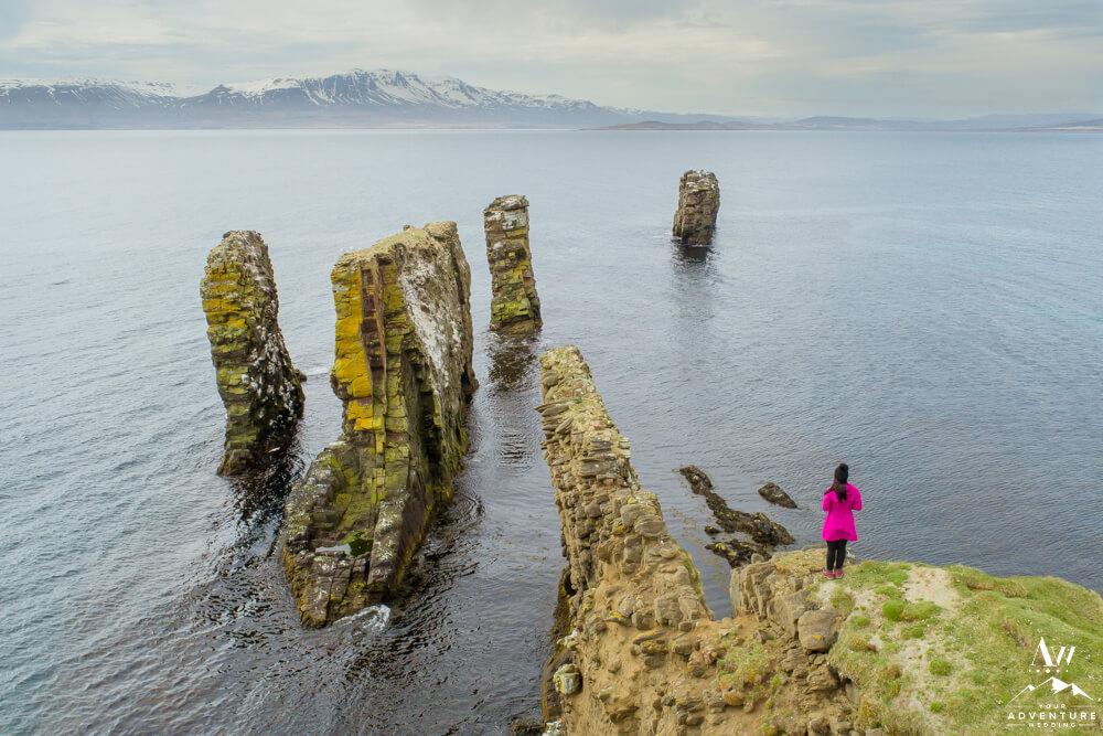 Fuglabjarganes Hike Woman Standing on Edge