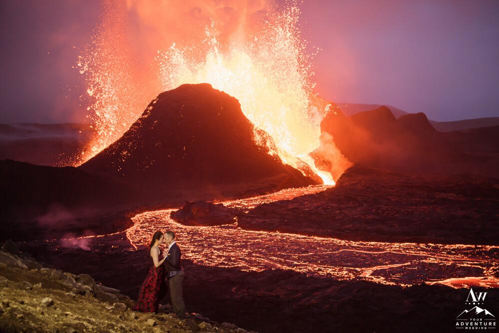 Nighttime Iceland Volcano Wedding Photos
