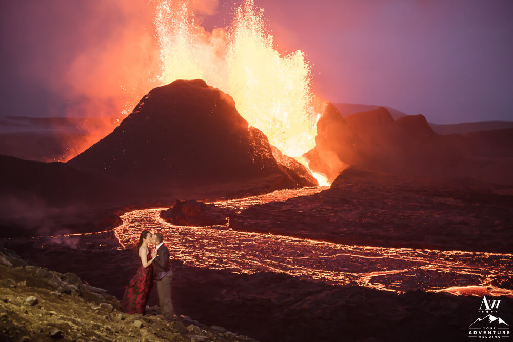 Nighttime Volcano Eruption Wedding Photos