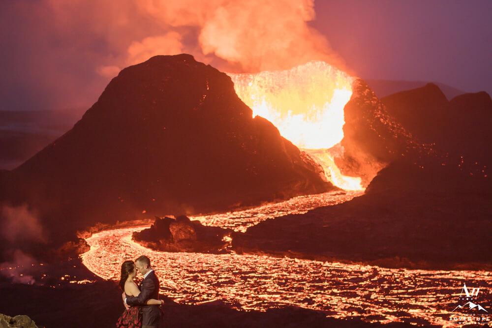 Nighttime Volcano Wedding Photos