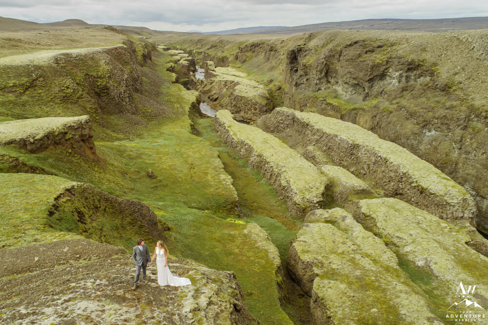 Iceland Central Highland Wedding Couple in Canyon