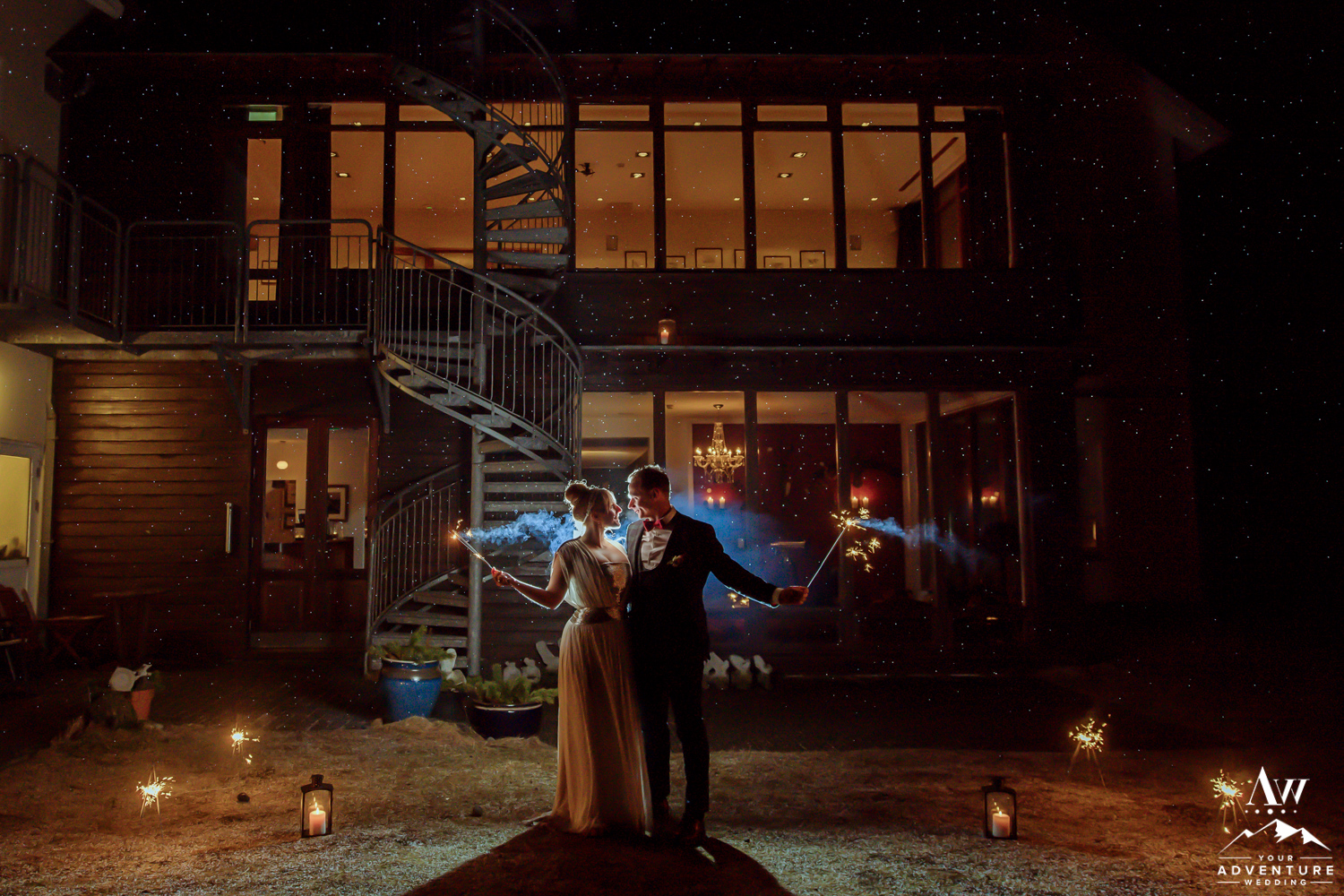 Hotel Budir-Iceland Nighttime Wedding Photos