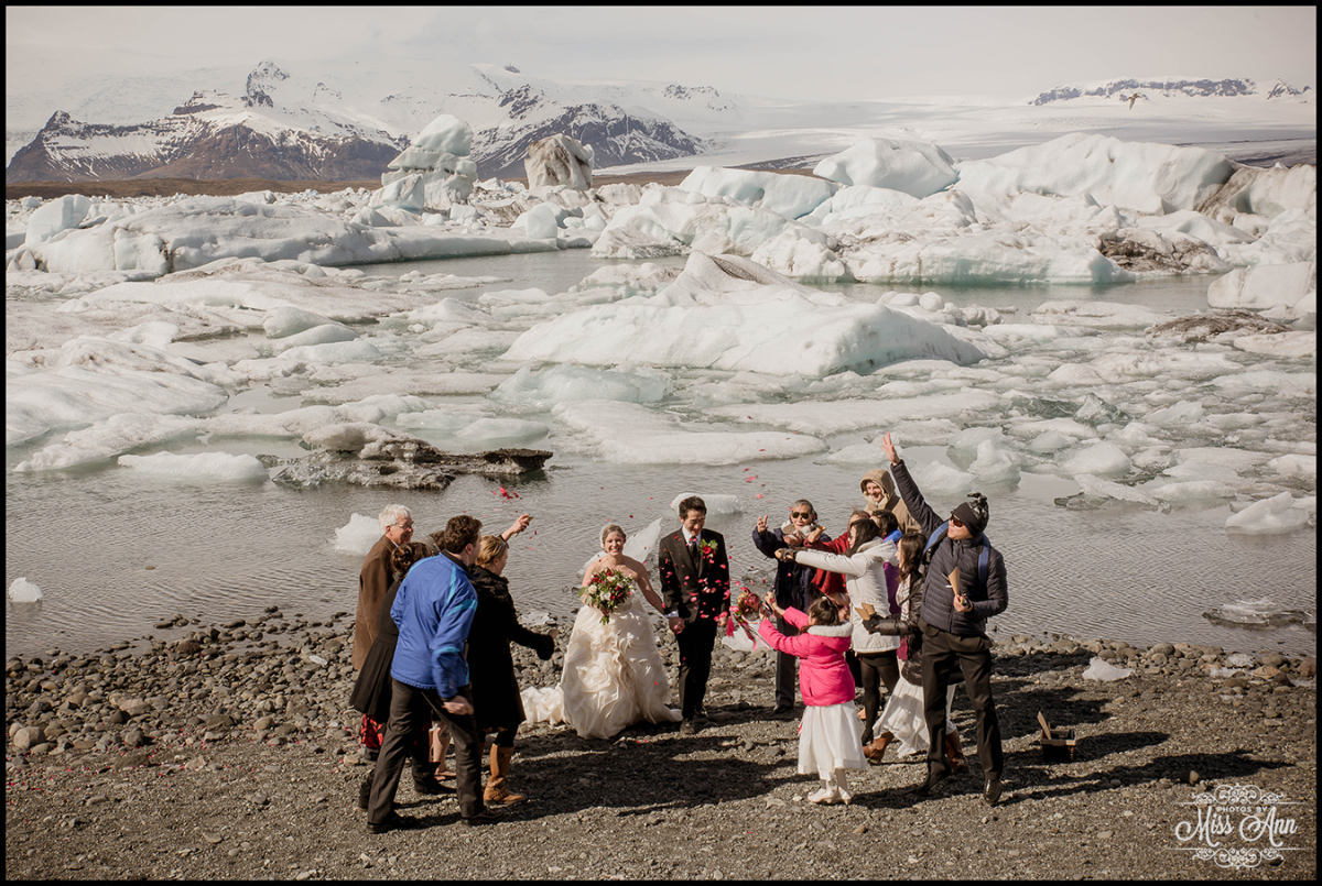 Iceland Glacier Lagoon Wedding with Rose Petals
