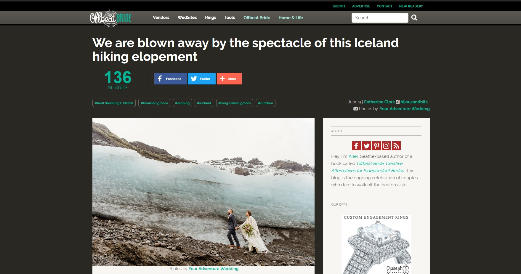 Iceland Hiking Wedding Featured on Offbeat Bride