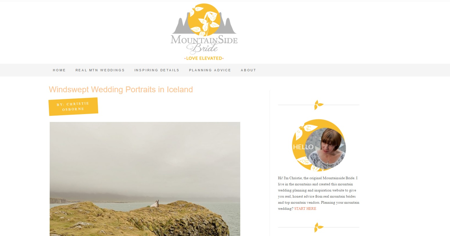 Iceland Wedding Featured on Mountainside Bride