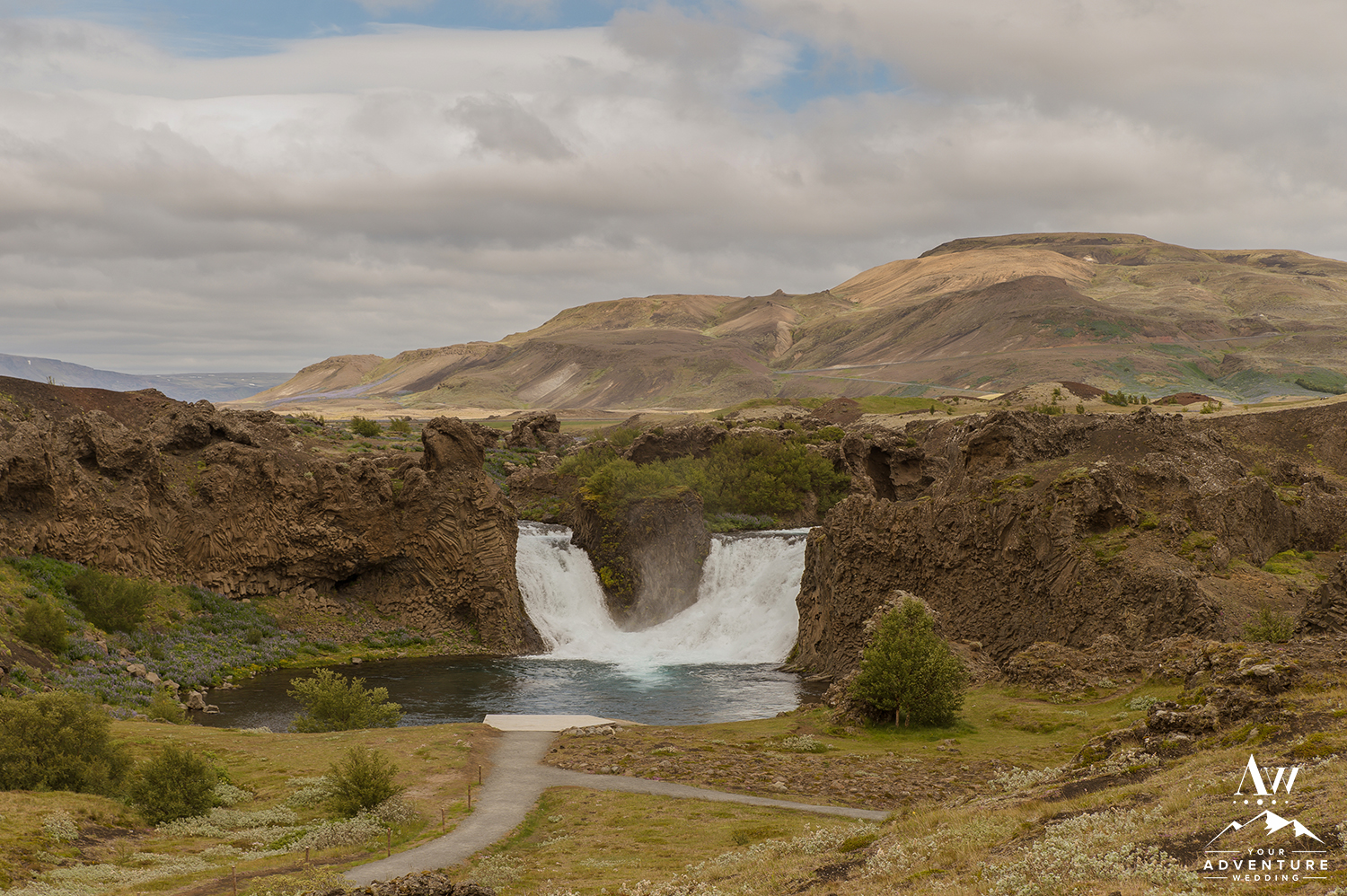 Iceland Wedding Planner and Photographer - Hjálparfoss Waterfall